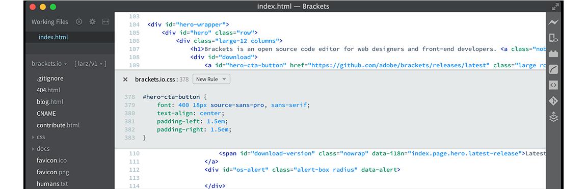 brackets php editor